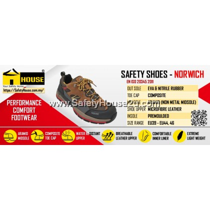 HOUSE NORWICH SAFETY SHOES C/W COMPOSITE TOE CAP & ARAMID MID SOLE